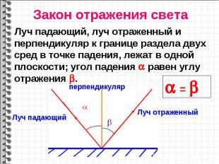Луч падающий, луч отраженный и перпендикуляр к границе раздела двух сред в точке