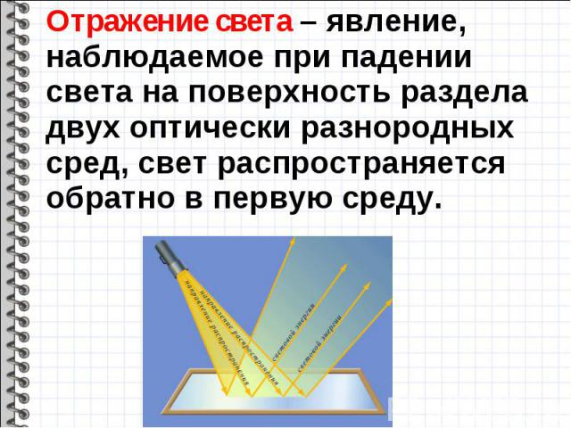 Отражение света – явление, наблюдаемое при падении света на поверхность раздела двух оптически разнородных сред, свет распространяется обратно в первую среду. Отражение света – явление, наблюдаемое при падении света на поверхность раздела двух оптич…