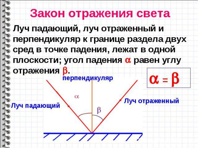 Луч падающий, луч отраженный и перпендикуляр к границе раздела двух сред в точке падения, лежат в одной плоскости; угол падения равен углу отражения . Луч падающий, луч отраженный и перпендикуляр к границе раздела двух сред в точке падения, лежат в …