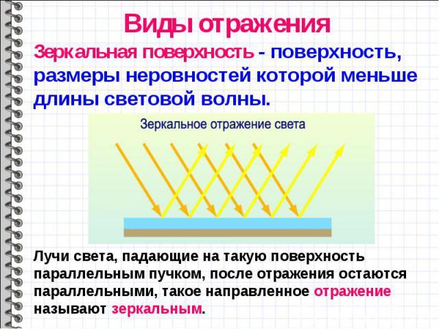 Зеркальная поверхность - поверхность, размеры неровностей которой меньше длины световой волны. Зеркальная поверхность - поверхность, размеры неровностей которой меньше длины световой волны.