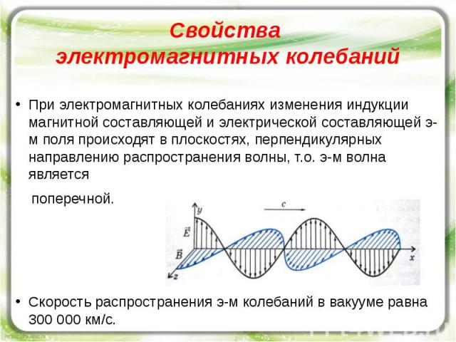 Свойства электромагнитных колебаний При электромагнитных колебаниях изменения индукции магнитной составляющей и электрической составляющей э-м поля происходят в плоскостях, перпендикулярных направлению распространения волны, т.о. э-м волна является …