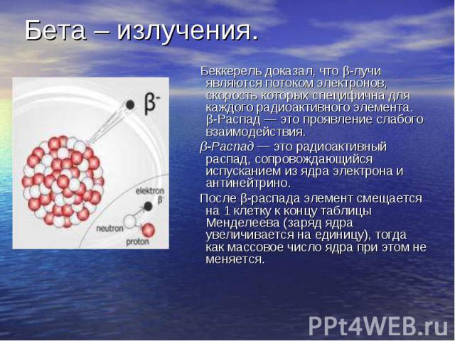 Бета – излучения. Беккерель доказал, что β-лучи являются потоком электронов, скорость которых специфична для каждого радиоактивного элемента. β-Распад — это проявление слабого взаимодействия. β-Распад — это радиоактивный распад, сопровождающийся исп…