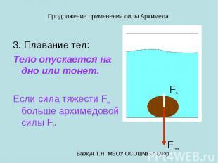 Продолжение применения силы Архимеда: 3. Плавание тел: Тело опускается на дно ил