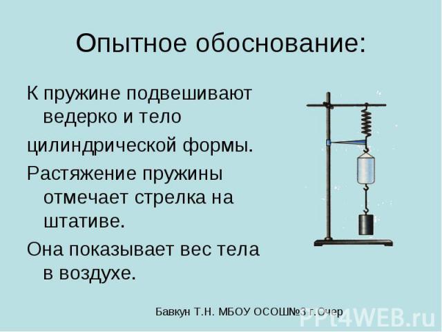 Опытное обоснование: К пружине подвешивают ведерко и тело цилиндрической формы. Растяжение пружины отмечает стрелка на штативе. Она показывает вес тела в воздухе.
