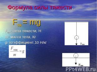 Fтяж = mg Fтяж = mg Fтяж.- сила тяжести, Н m- масса тела, Кг g- коэффициент,10 Н