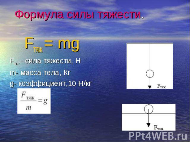 Fтяж = mg Fтяж = mg Fтяж.- сила тяжести, Н m- масса тела, Кг g- коэффициент,10 Н/кг