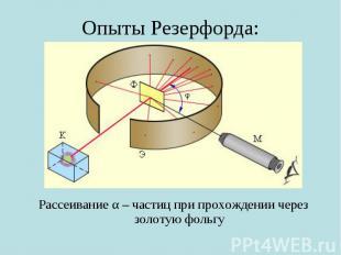 Опыты Резерфорда: Рассеивание α – частиц при прохождении через золотую фольгу