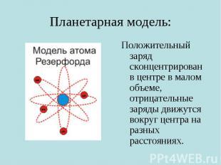 Планетарная модель: Положительный заряд сконцентрирован в центре в малом объеме,