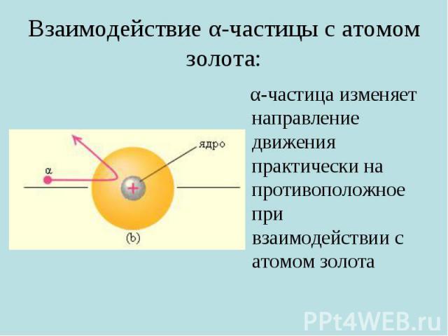 Взаимодействие α-частицы с атомом золота: α-частица изменяет направление движения практически на противоположное при взаимодействии с атомом золота