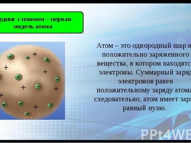 Атом – это однородный шар из положительно заряженного вещества, в котором находятся электроны. Суммарный заряд электронов равен положительному заряду атома, следовательно, атом имеет заряд равный нулю.
