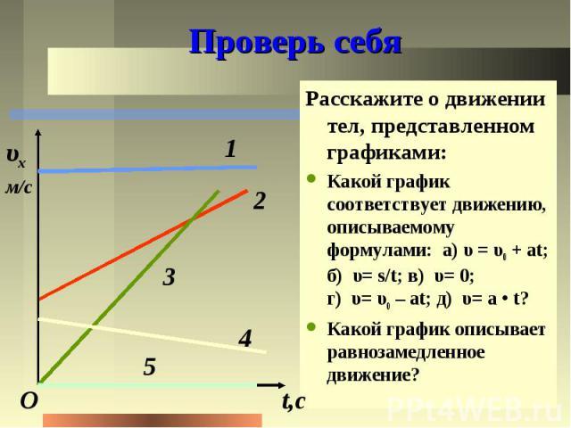 Проверь себя Расскажите о движении тел, представленном графиками: Какой график соответствует движению, описываемому формулами: а)υ=υ0 +at; б)υ=s/t; в)υ=0; г)υ=…