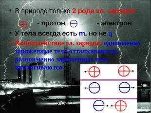 В природе только 2 рода эл. зарядов В природе только 2 рода эл. зарядов - протон