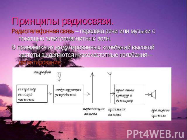Принципы радиосвязи. Радиотелефонная связь – передача речи или музыки с помощью электромагнитных волн. В приемнике из модулированных колебаний высокой частоты выделяются низкочастотные колебания – детектирование