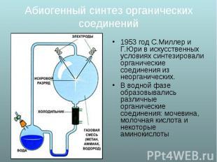 1953 год С.Миллер и Г.Юри в искусственных условиях синтезировали органические со