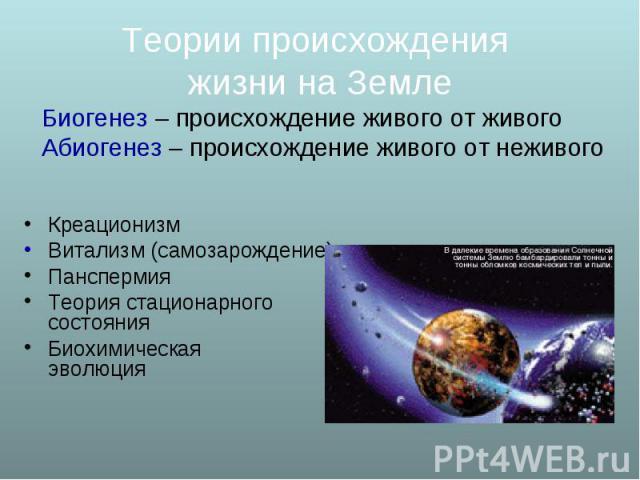 Креационизм Витализм (самозарождение) Панспермия Теория стационарного состояния Биохимическая эволюция