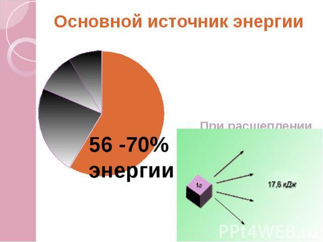 Основной источник энергии При расщеплении и окислении молекул выделяется значительное количество энергии
