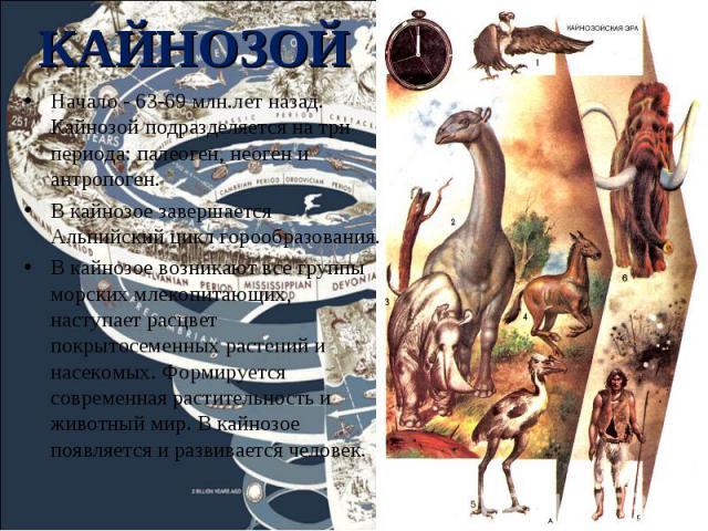 Начало - 63-69 млн.лет назад. Кайнозой подразделяется на три периода: палеоген, неоген и антропоген. Начало - 63-69 млн.лет назад. Кайнозой подразделяется на три периода: палеоген, неоген и антропоген. В кайнозое завершается Альпийский цикл горообра…