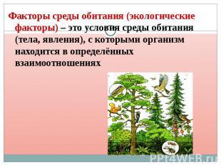 Факторы среды обитания (экологические факторы) – это условия среды обитания (тел
