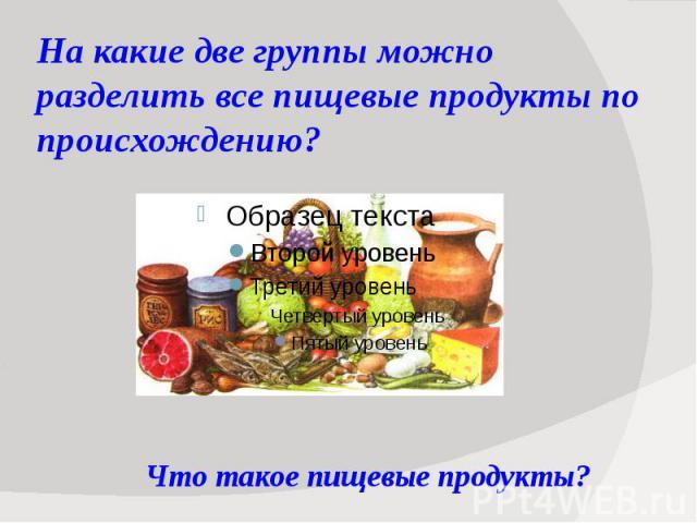На какие две группы можно разделить все пищевые продукты по происхождению?
