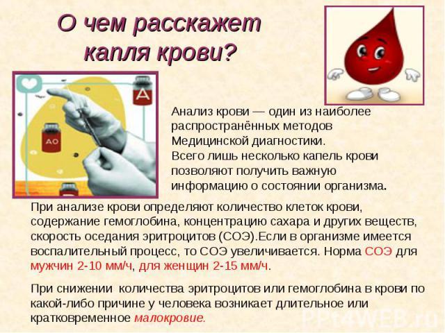 Анализ крови— один изнаиболее Анализ крови— один изнаиболее распространённых методов Медицинской диагностики. Всего лишь несколько капель крови позволяют получить важную информацию осостоянии организма.