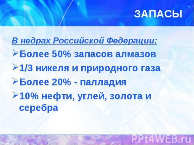 В недрах Российской Федерации: В недрах Российской Федерации: Более 50% запасов алмазов 1/3 никеля и природного газа Более 20% - палладия 10% нефти, углей, золота и серебра