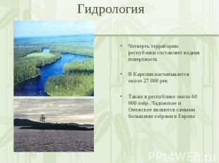 Четверть территории республики составляет водная поверхность В Карелии насчитыва