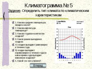 Климатограмма № 5 Задание. Определить тип климата по климатическим характеристик