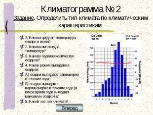 Климатограмма № 2 Задание. Определить тип климата по климатическим характеристик