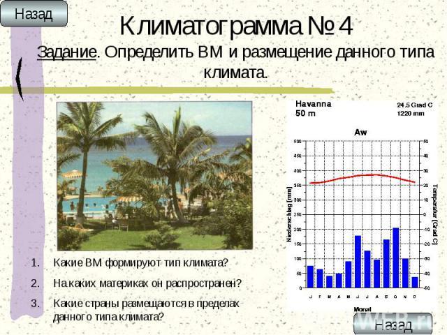 Климатограмма № 4 Задание. Определить ВМ и размещение данного типа климата.