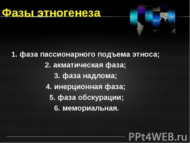 Фазы этногенеза 1. фаза пассионарного подъема этноса; 2. акматическая фаза; 3. фаза надлома; 4. инерционная фаза; 5. фаза обскурации; 6. мемориальная.