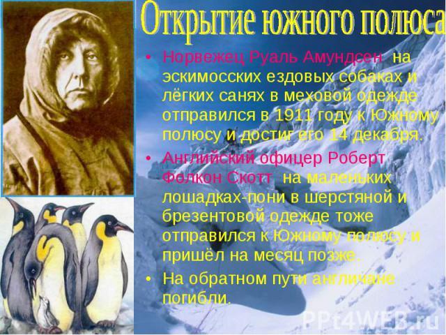 Норвежец Руаль Амундсен на эскимосских ездовых собаках и лёгких санях в меховой одежде отправился в 1911 году к Южному полюсу и достиг его 14 декабря. Норвежец Руаль Амундсен на эскимосских ездовых собаках и лёгких санях в меховой одежде отправился …