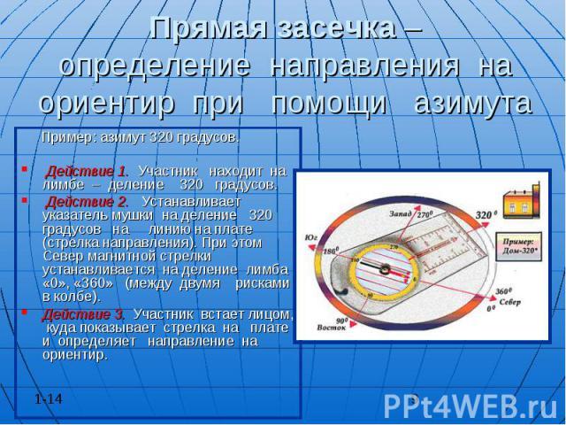 Прямая засечка – определение направления на ориентир при помощи азимута Пример: азимут 320 градусов. Действие 1. Участник находит на лимбе – деление 320 градусов. Действие 2. Устанавливает указатель мушки на деление 320 градусов на линию на плате (с…