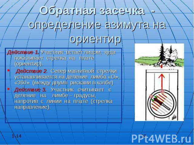 Обратная засечка - определение азимута на ориентир Действие 1. Участник встает лицом, куда показывает стрелка на плате (ориентир). Действие 2. Север магнитной стрелки устанавливается на деление лимба «О», «360» (между двумя рисками в колбе) Действие…