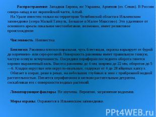 Распространение. Западная Европа, юг Украины, Армения (оз. Севан). В России: сев