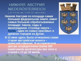НИЖНЯЯ АВСТРИЯ NIEDERÖSTERREICH ( 19 170 кв. км, 1 439 137 жителей ) Нижняя Авст