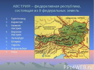 АВСТРИЯ – федеративная республика, состоящая из 9 федеральных земель Бургенланд