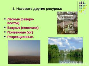 Лесные (северо-восток) Лесные (северо-восток) Водные (невелики) Почвенные (юг) Р