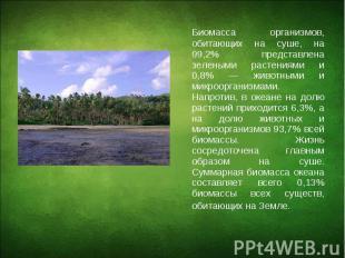 Биомасса организмов, обитающих на суше, на 99,2% представлена зелеными растениям