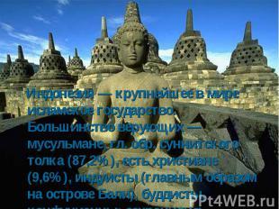 Индонезия — крупнейшее в мире исламское государство. Большинство верующих — мусу