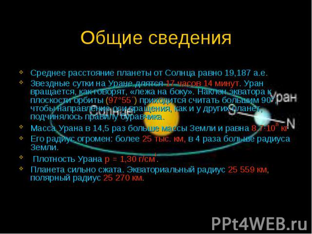 Общие сведения Среднее расстояние планеты от Солнца равно 19,187 а.е. Звездные сутки на Уране длятся 17 часов 14 минут. Уран вращается, как говорят, «лежа на боку». Наклон экватора к плоскости орбиты (97°55´) приходится считать большим 90°, чтобы на…