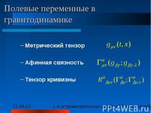 Полевые переменные в гравитодинамике Метрический тензор Афинная связность Тензор