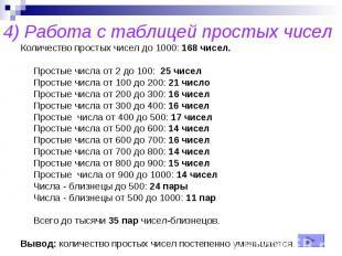 4) Работа с таблицей простых чисел Количество простых чисел до 1000: 168 чисел.