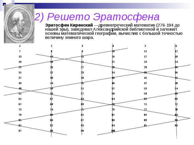 2) Решето Эратосфена ЭратосфенКиренский —древнегреческий математик (276-194до нашей эры), заведовал Александрийской библиотекой и заложил основы математической географии, вычислив с большой точностью величину земного шара.
