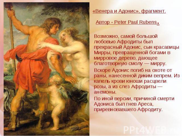«Венера и Адонис», фрагмент. Автор - Peter Paul Rubens. Возможно, самой большой любовью Афродиты был прекрасный Адонис, сын красавицы Мирры, превращенной богами в мирровое дерево, дающее благотворную смолу — мирру. Вскоре Адонис погиб на охоте от ра…