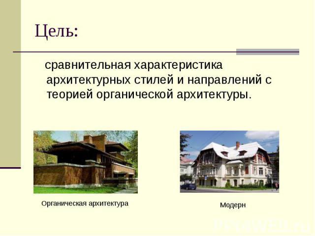 Цель: сравнительная характеристика архитектурных стилей и направлений с теорией органической архитектуры.