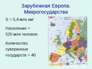Зарубежная Европа. Микрогосударства S = 5,4 млн км2 Население = 520 млн человек