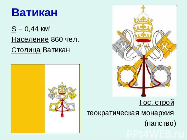 Ватикан S = 0,44 км2 Население 860 чел. Столица Ватикан Гос. строй теократическая монархия (папство)
