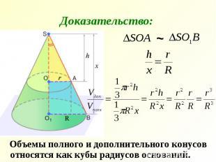 Объемы полного и дополнительного конусов относятся как кубы радиусов оснований.