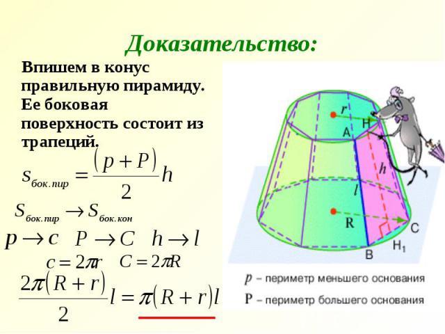 Доказательство: Впишем в конус правильную пирамиду. Ее боковая поверхность состоит из трапеций.