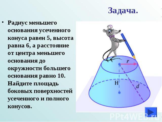 Задача. Радиус меньшего основания усеченного конуса равен 5, высота равна 6, а расстояние от центра меньшего основания до окружности большего основания равно 10. Найдите площадь боковых поверхностей усеченного и полного конусов.
